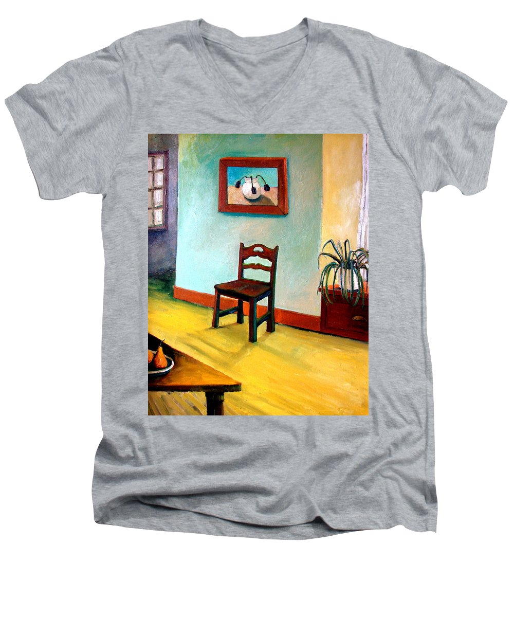 Apartment Men's V-Neck T-Shirt featuring the painting Chair And Pears Interior by Michelle Calkins