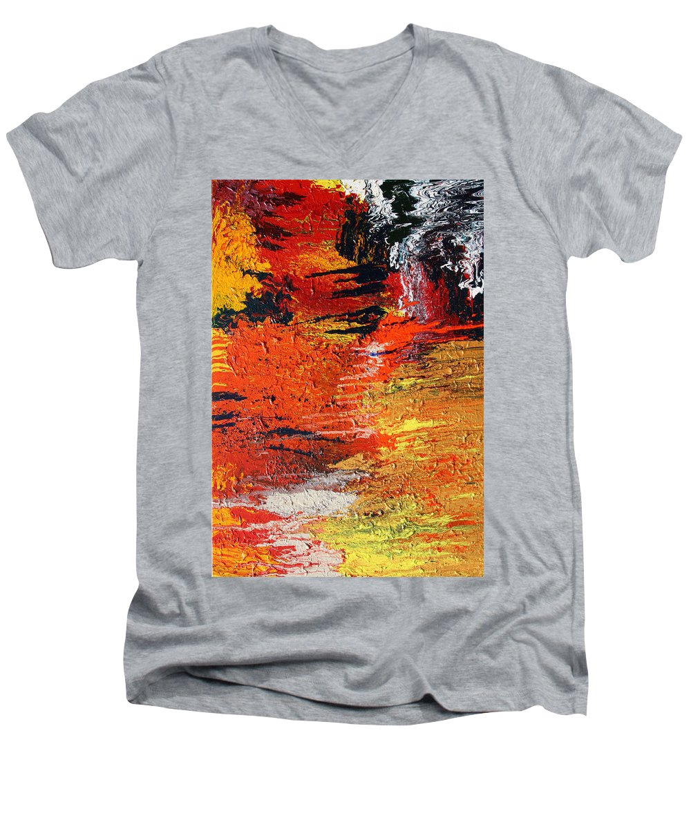 Fusionart Men's V-Neck T-Shirt featuring the painting Chasm by Ralph White