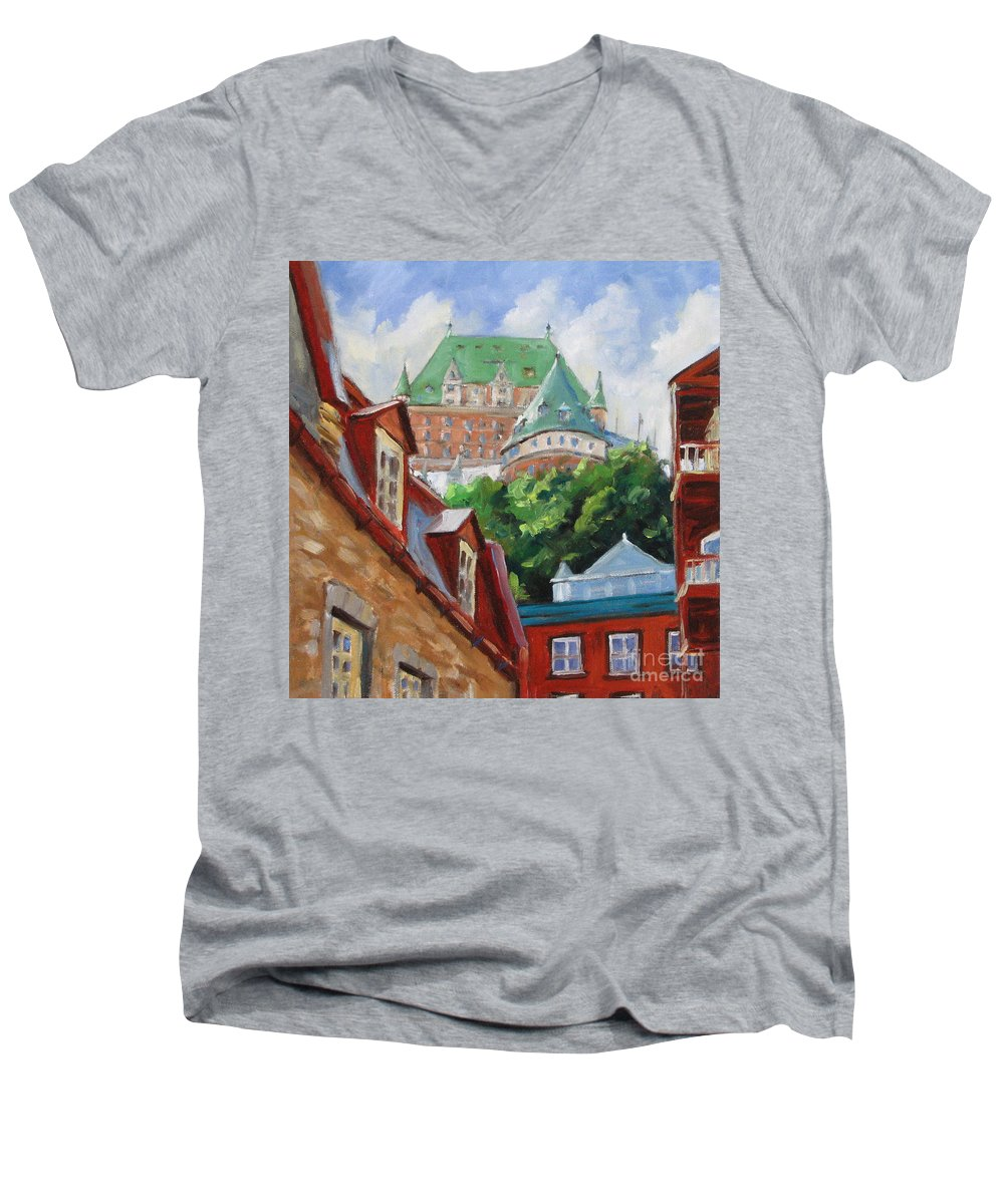 Chateau Frontenac Men's V-Neck T-Shirt featuring the painting Chateau Frontenac by Richard T Pranke