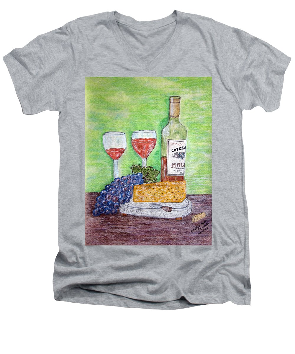 Cheese Men's V-Neck T-Shirt featuring the painting Cheese Wine And Grapes by Kathy Marrs Chandler
