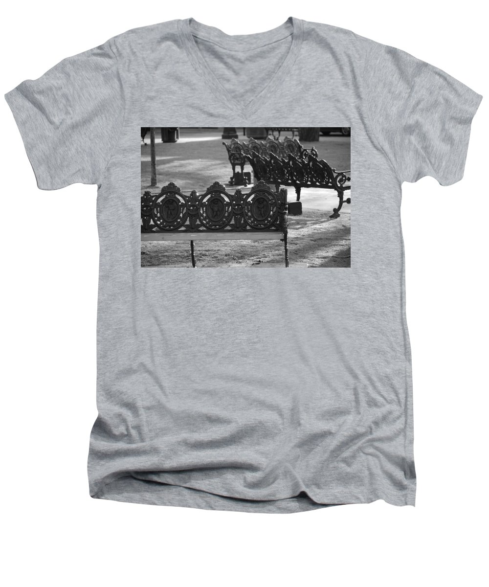 Black And White Men's V-Neck T-Shirt featuring the photograph Cherb Benches by Rob Hans
