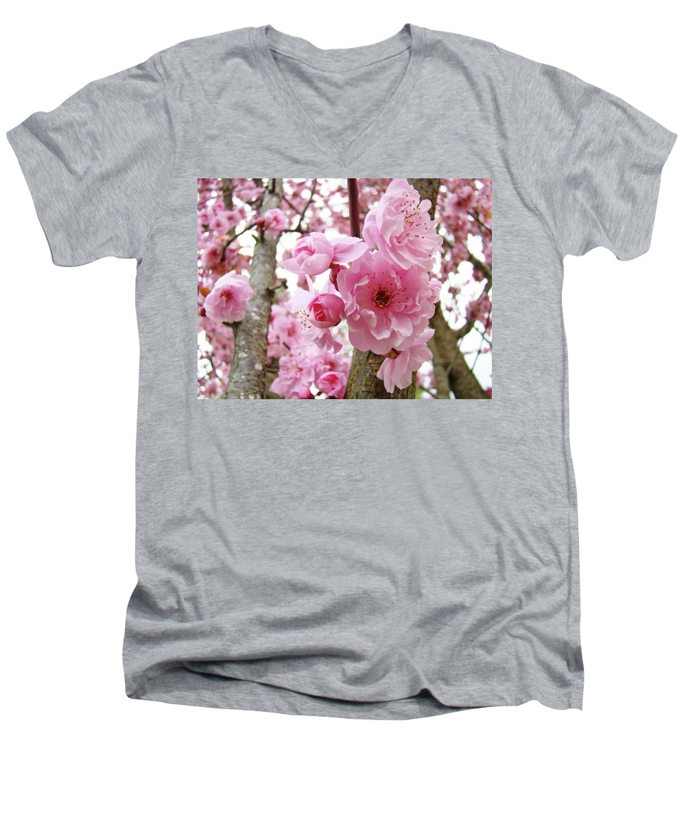 Nature Men's V-Neck T-Shirt featuring the photograph Cherry Blossoms Art Prints 12 Cherry Tree Blossoms Artwork Nature Art Spring by Baslee Troutman