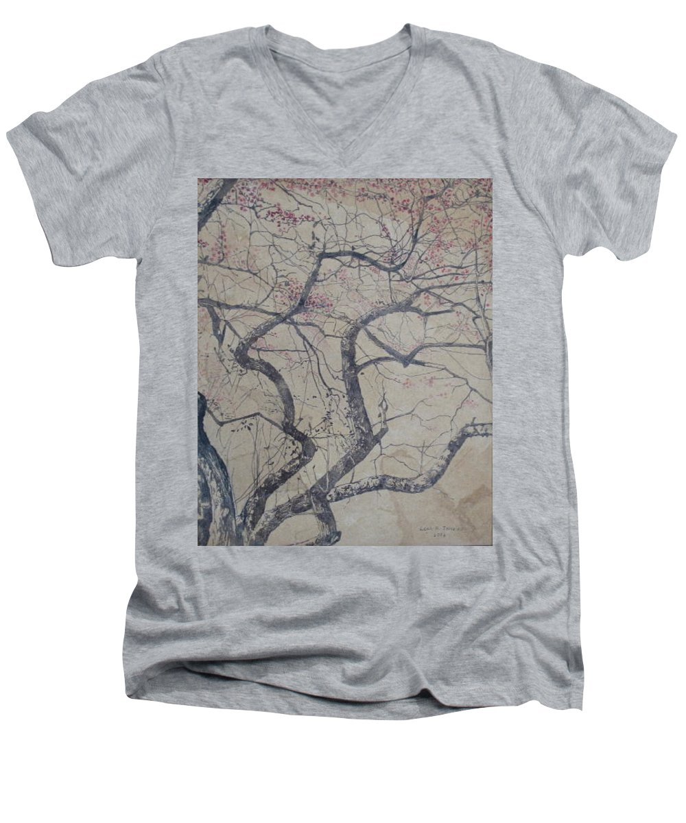 Crab Apple Men's V-Neck T-Shirt featuring the painting Prairie Fire by Leah Tomaino
