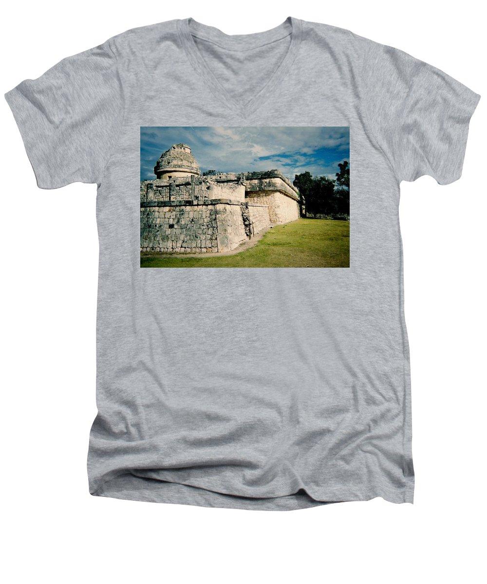 Chitchen Itza Men's V-Neck T-Shirt featuring the photograph Chichen Itza 1 by Anita Burgermeister
