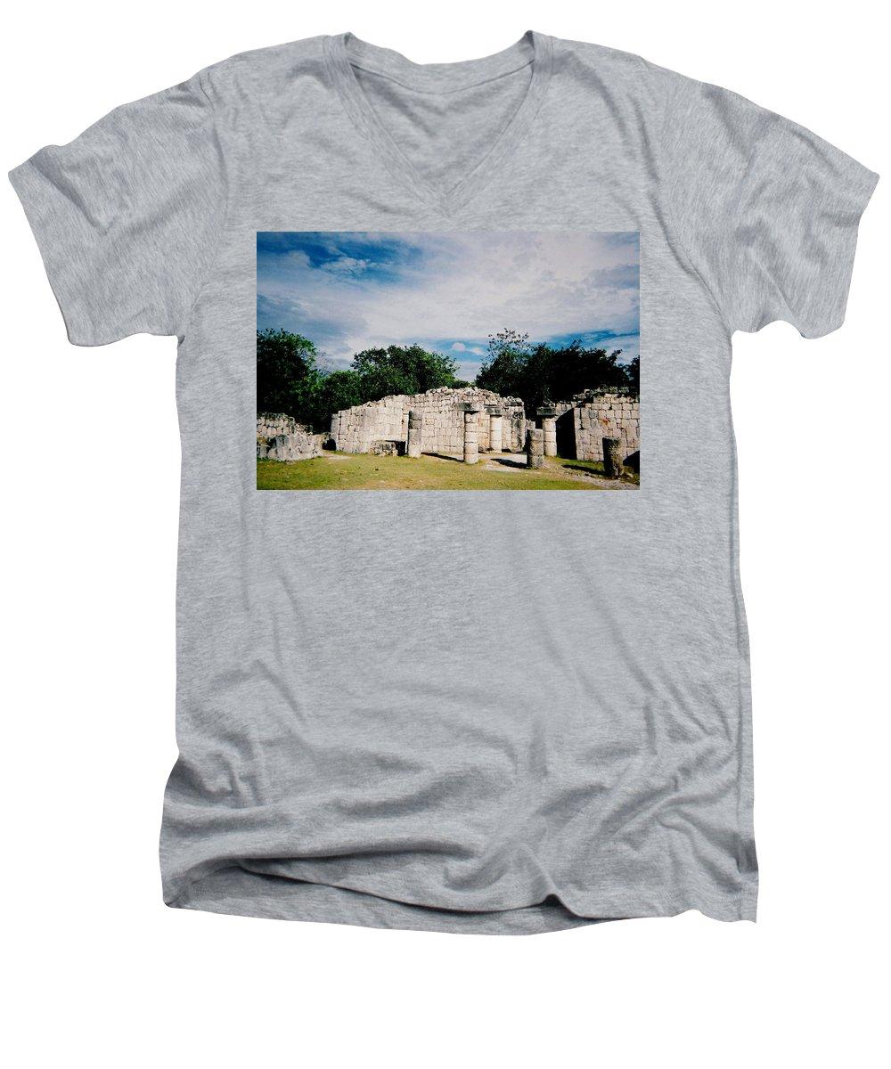 Chitchen Itza Men's V-Neck T-Shirt featuring the photograph Chichen Itza 2 by Anita Burgermeister