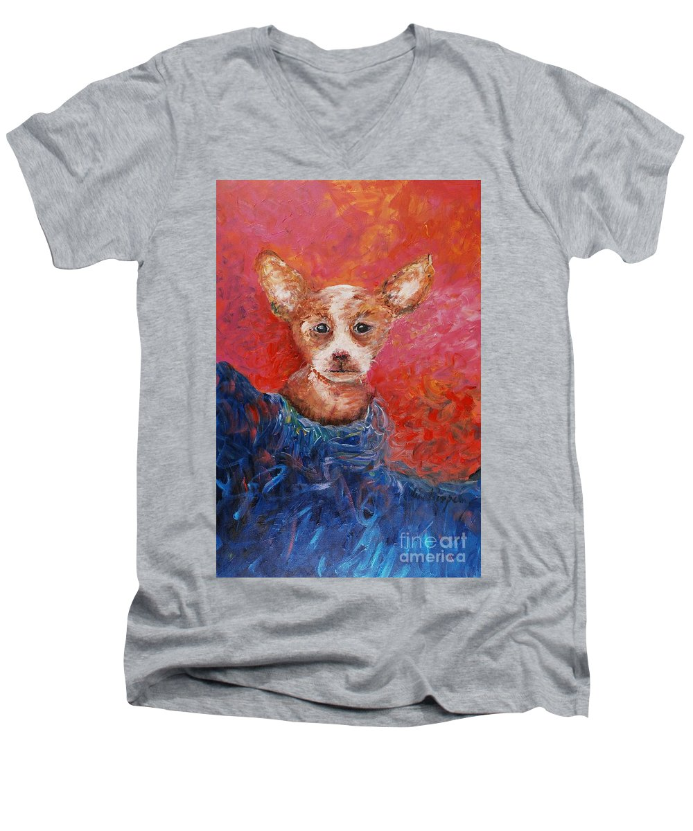 Dog Men's V-Neck T-Shirt featuring the painting Chihuahua Blues by Nadine Rippelmeyer