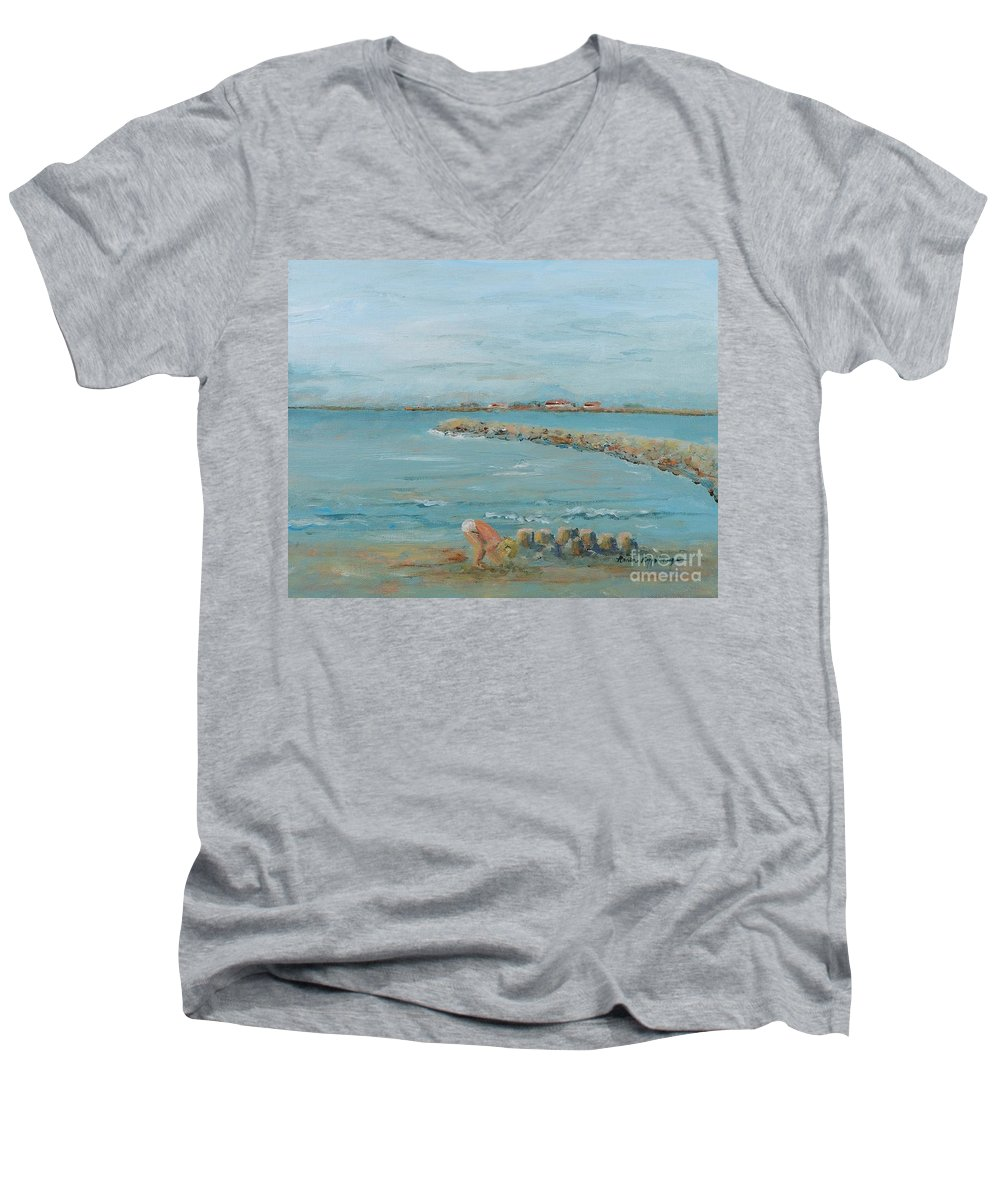 Beach Men's V-Neck T-Shirt featuring the painting Child Playing At Provence Beach by Nadine Rippelmeyer