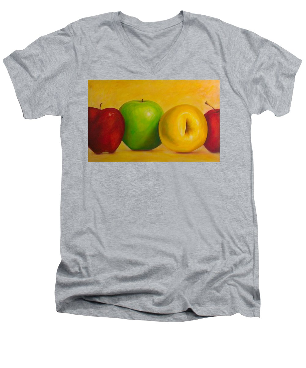 Still Life Men's V-Neck T-Shirt featuring the painting Chorus Line by Shannon Grissom