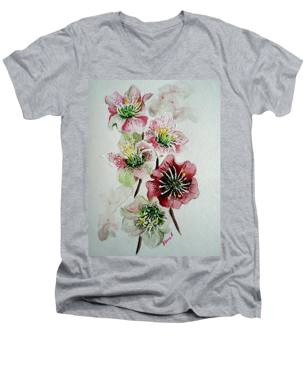 Floral Flower Pink Men's V-Neck T-Shirt featuring the painting Christmas Rose by Karin Dawn Kelshall- Best