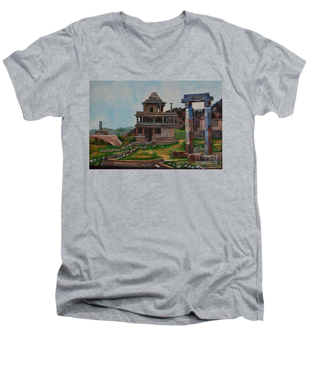 Landscape Men's V-Neck T-Shirt featuring the painting Cithradurga Fort by Usha Rai