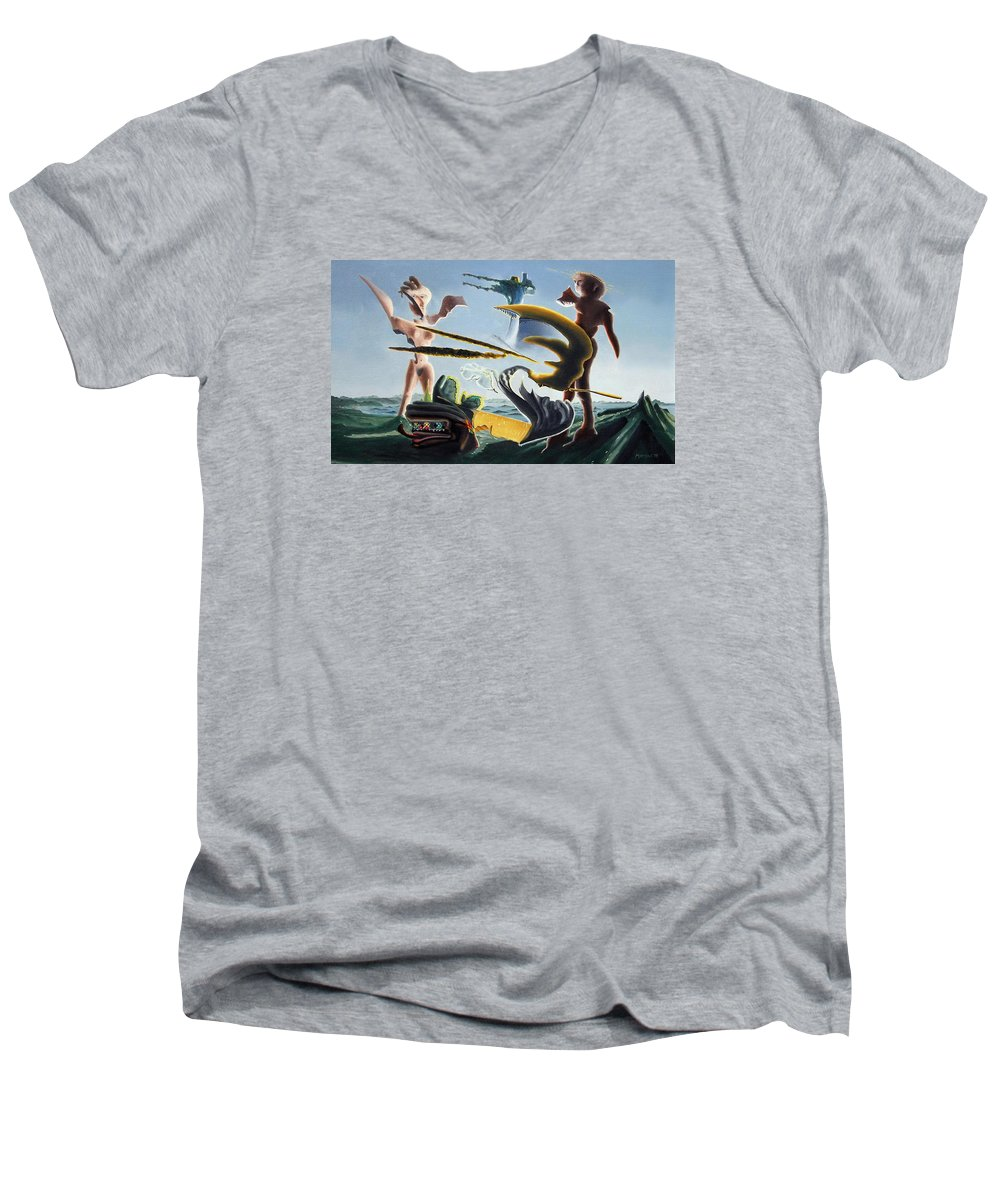 Landscape Men's V-Neck T-Shirt featuring the painting Civilization Found Intact by Dave Martsolf