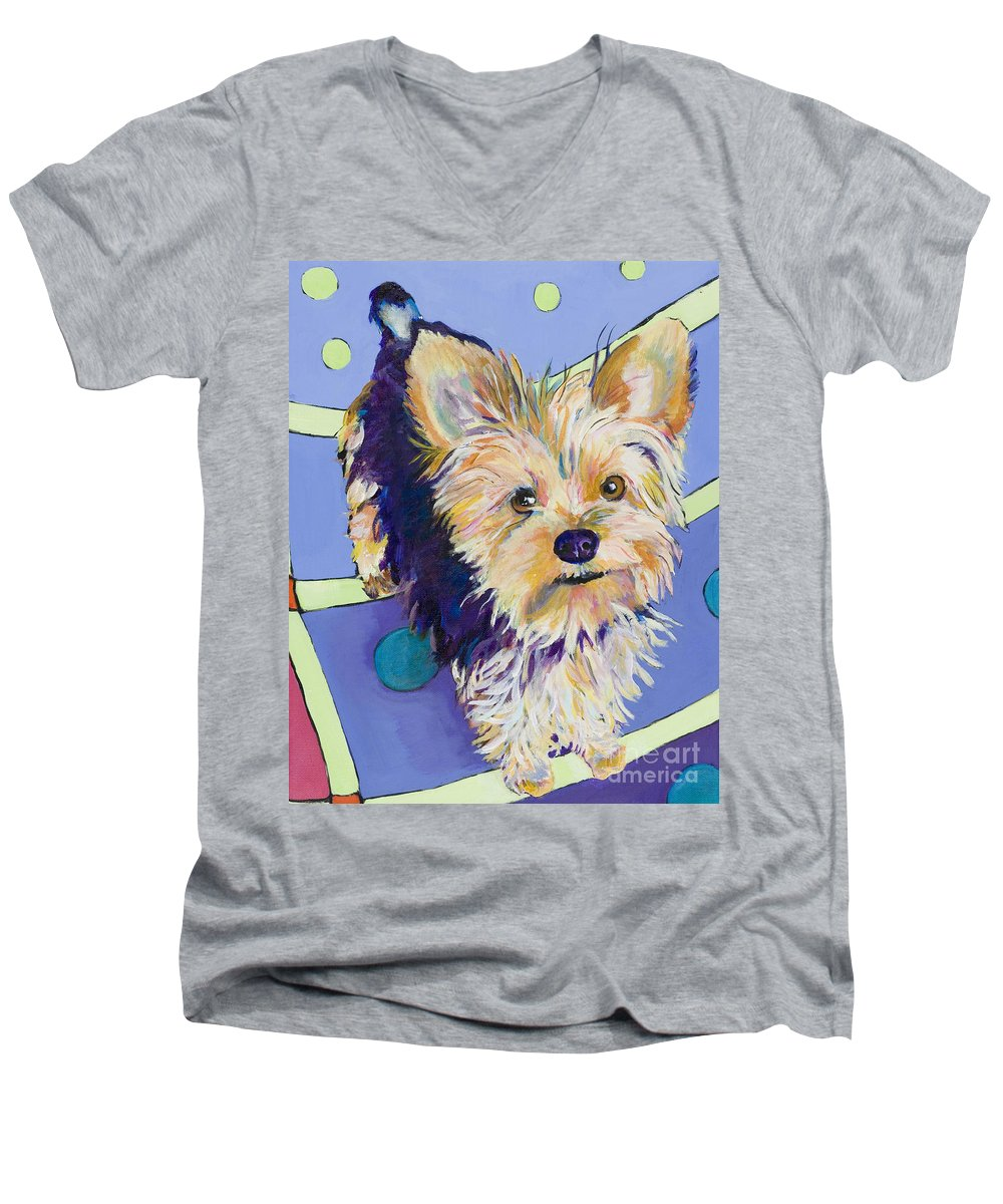Pet Portraits Men's V-Neck T-Shirt featuring the painting Claire by Pat Saunders-White