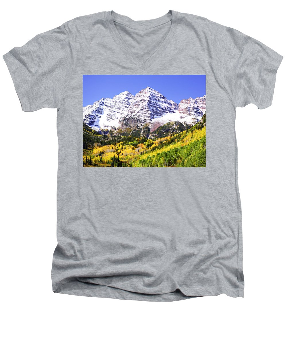 Americana Men's V-Neck T-Shirt featuring the photograph Classic Maroon Bells by Marilyn Hunt