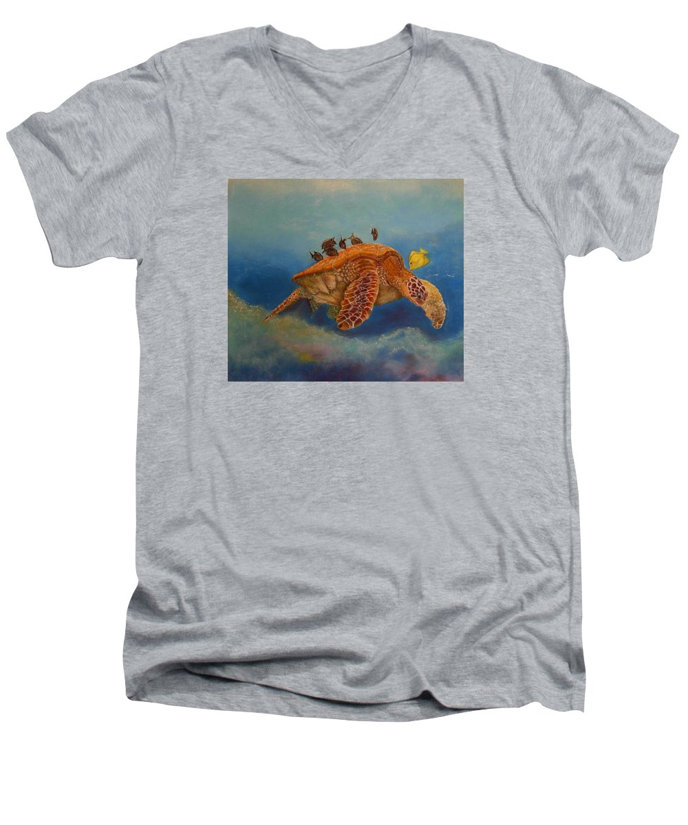 Turtle Men's V-Neck T-Shirt featuring the painting Cleaning Station by Ceci Watson