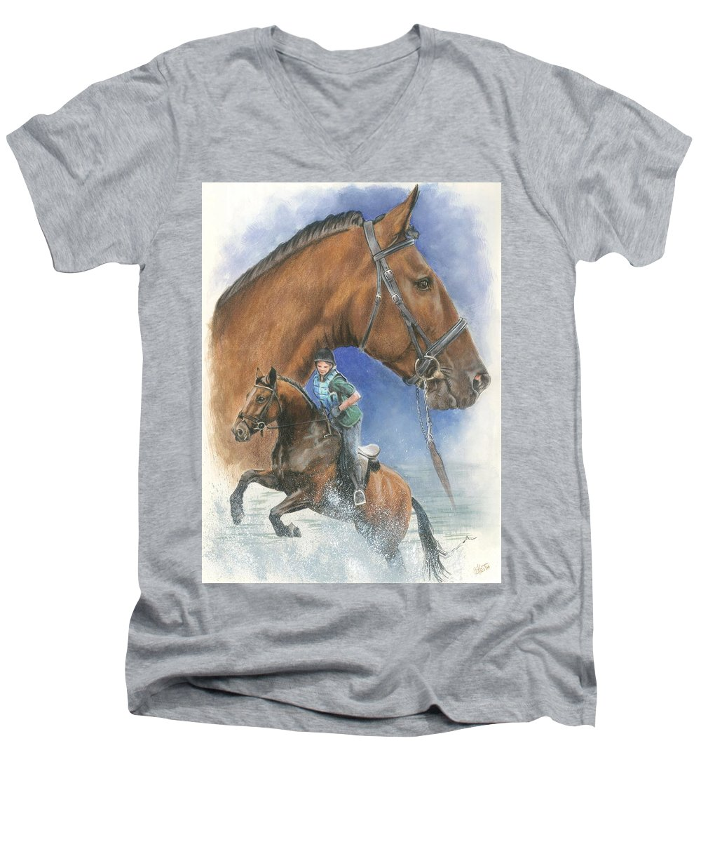 Equus Men's V-Neck T-Shirt featuring the mixed media Cleveland Bay by Barbara Keith