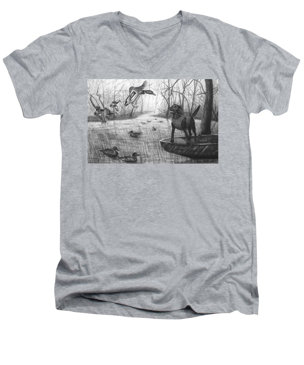 Cloaked Men's V-Neck T-Shirt featuring the drawing Cloaked by Peter Piatt