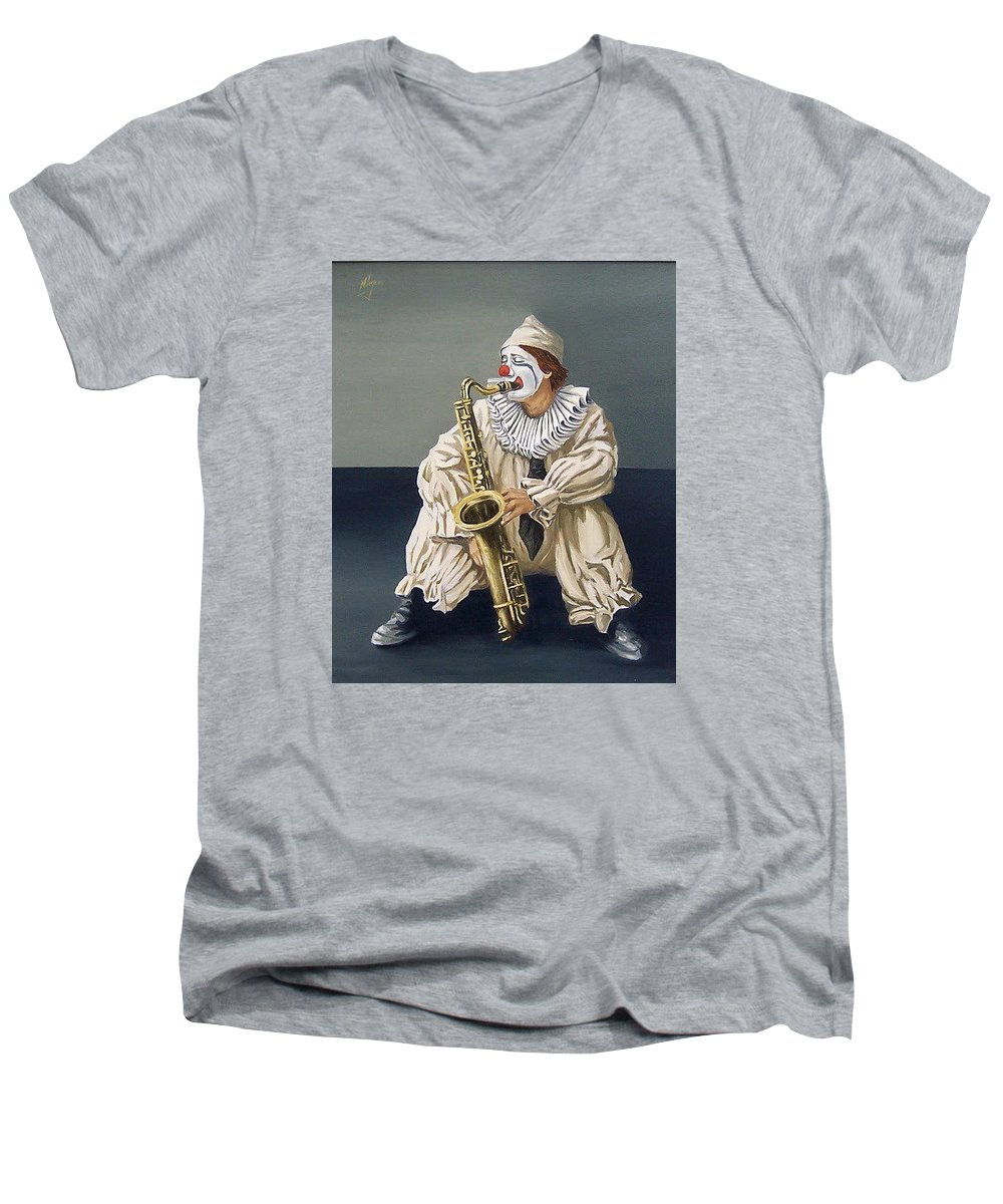 Clown Figurative Portrait People Men's V-Neck T-Shirt featuring the painting Clown by Natalia Tejera
