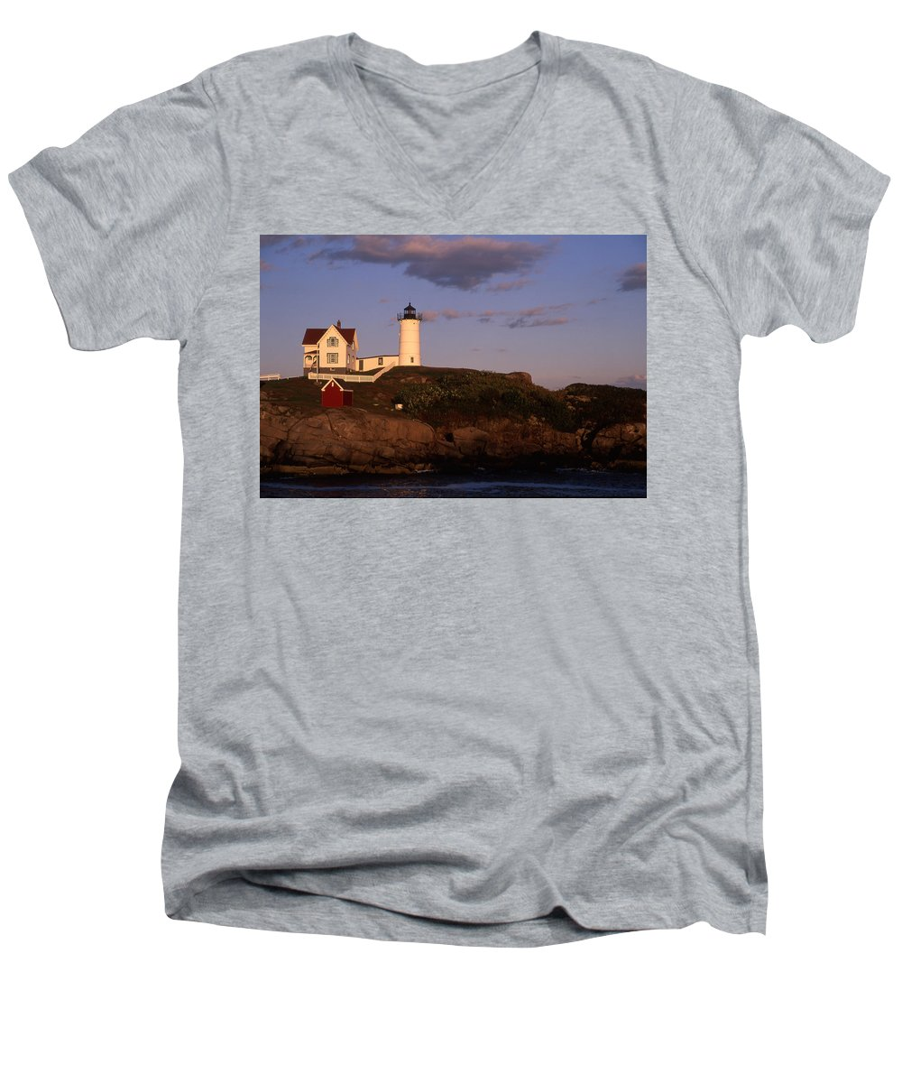 Landscape New England Lighthouse Nautical Coast Men's V-Neck T-Shirt featuring the photograph Cnrf0908 by Henry Butz