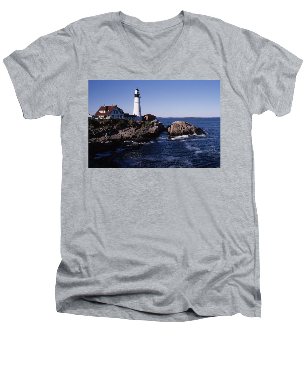 Landscape New England Lighthouse Nautical Coast Men's V-Neck T-Shirt featuring the photograph Cnrf0910 by Henry Butz