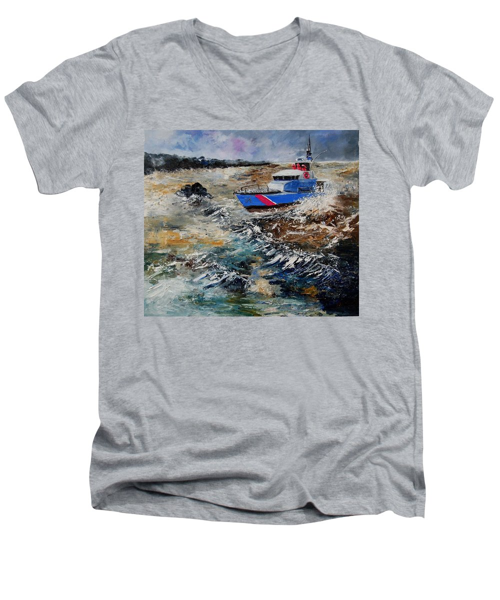 Sea Men's V-Neck T-Shirt featuring the painting Coastguards by Pol Ledent