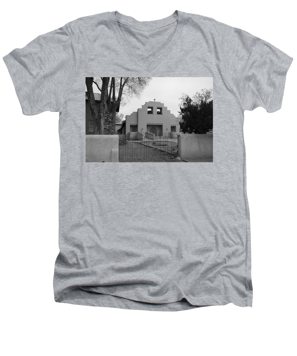 Architecture Men's V-Neck T-Shirt featuring the photograph Cochiti Church by Rob Hans