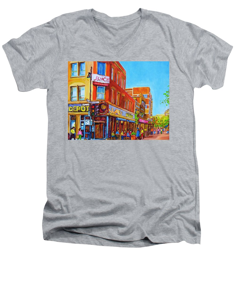 Cityscape Men's V-Neck T-Shirt featuring the painting Coffee Depot Cafe And Terrace by Carole Spandau