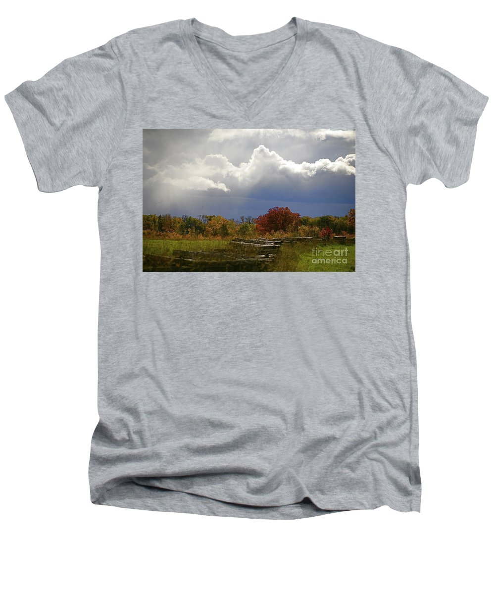 Landscape Men's V-Neck T-Shirt featuring the photograph Cold Front by Robert Pearson