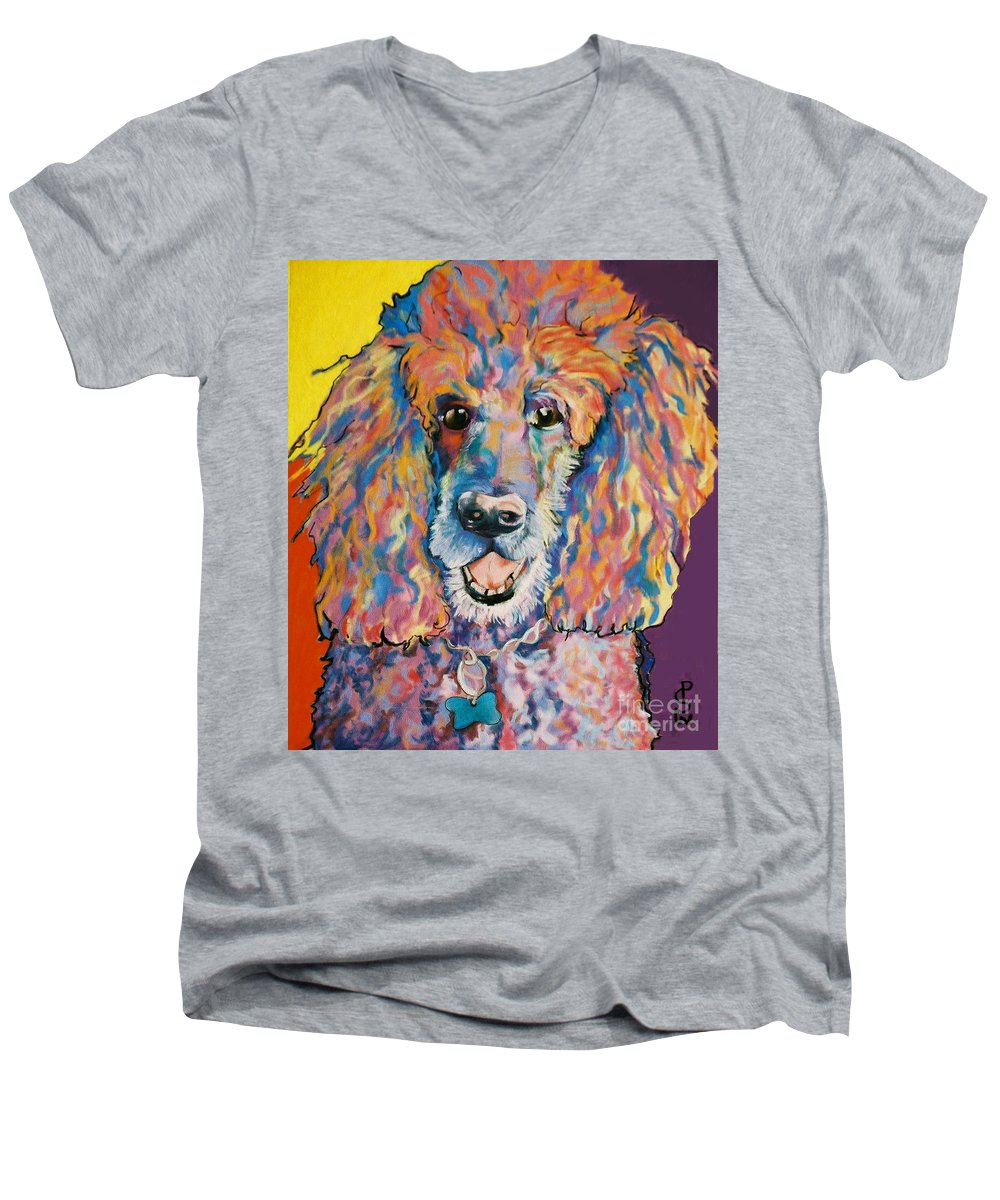Standard Poodle Men's V-Neck T-Shirt featuring the painting Cole by Pat Saunders-White