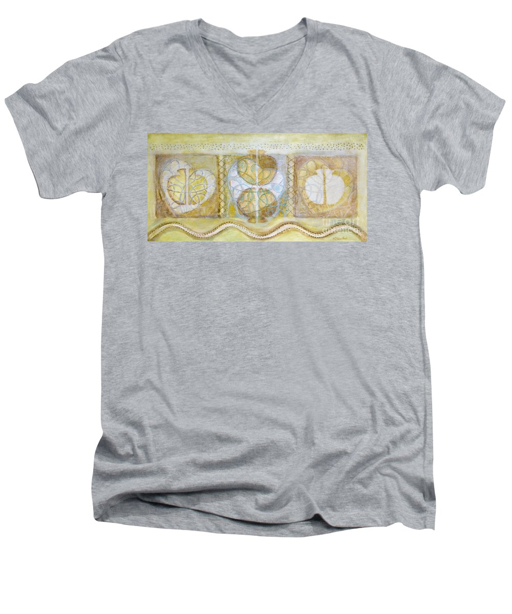 Symbolism Men's V-Neck T-Shirt featuring the painting Collective Unconscious Three Equals One Equals Enlightenment by Kerryn Madsen- Pietsch