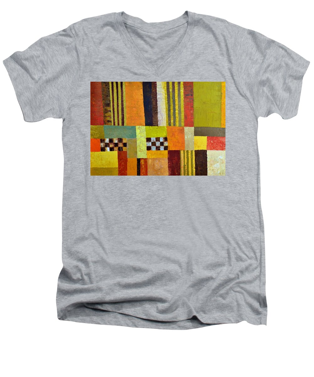 Colorful Men's V-Neck T-Shirt featuring the painting Color And Pattern Abstract by Michelle Calkins