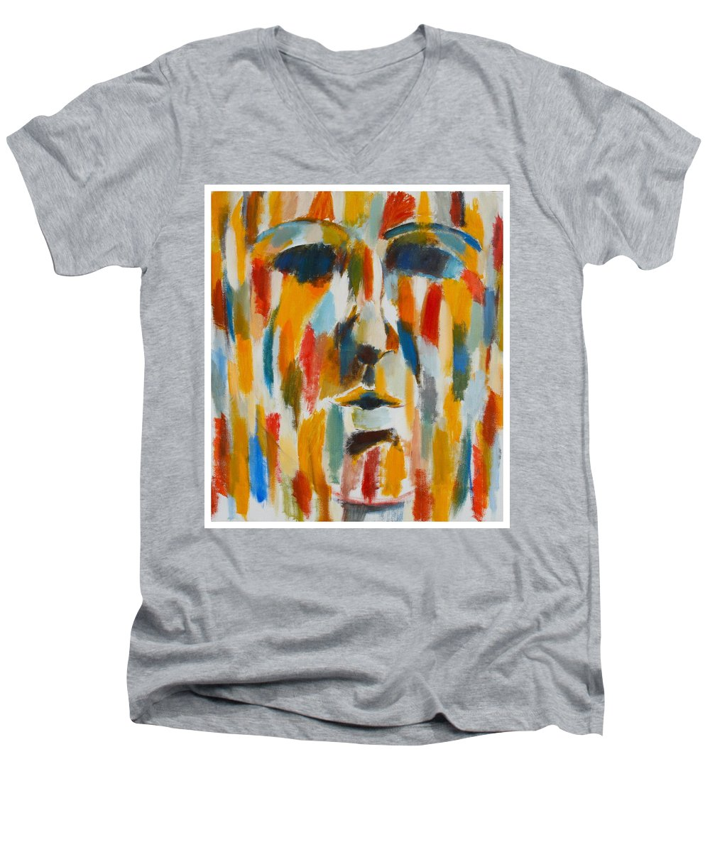 Yellow Men's V-Neck T-Shirt featuring the painting Color Blind by Habib Ayat
