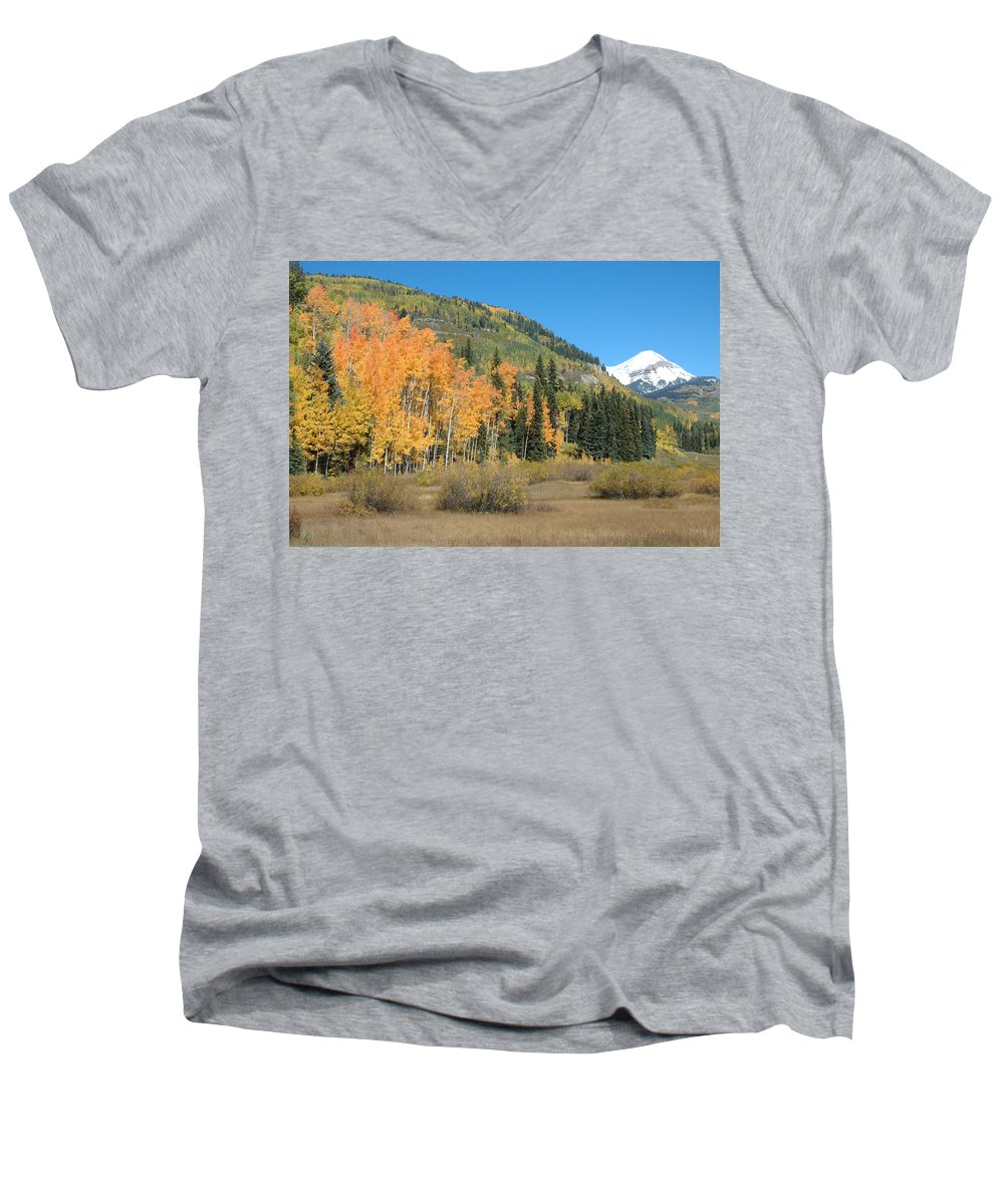 Aspen Men's V-Neck T-Shirt featuring the photograph Colorado Gold by Jerry McElroy
