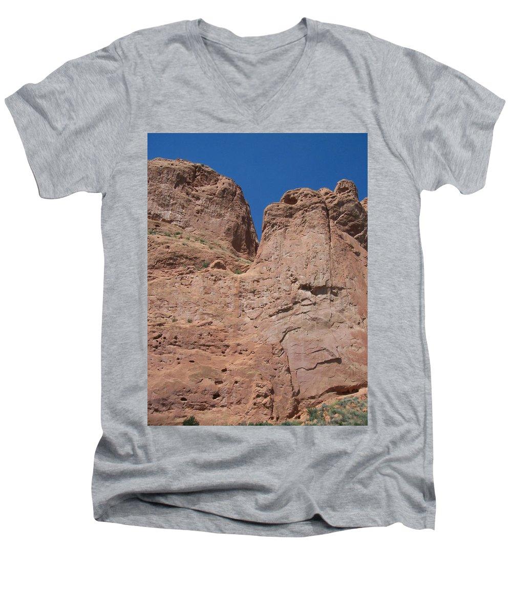 Colorado Men's V-Neck T-Shirt featuring the photograph Colorado Redrock by Anita Burgermeister