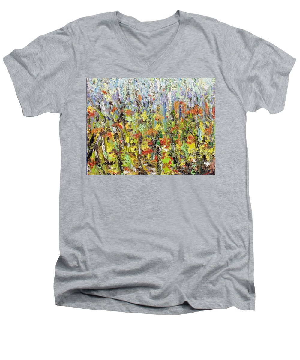 Autumn Abstract Paintings Men's V-Neck T-Shirt featuring the painting Colorful Forest by Seon-Jeong Kim