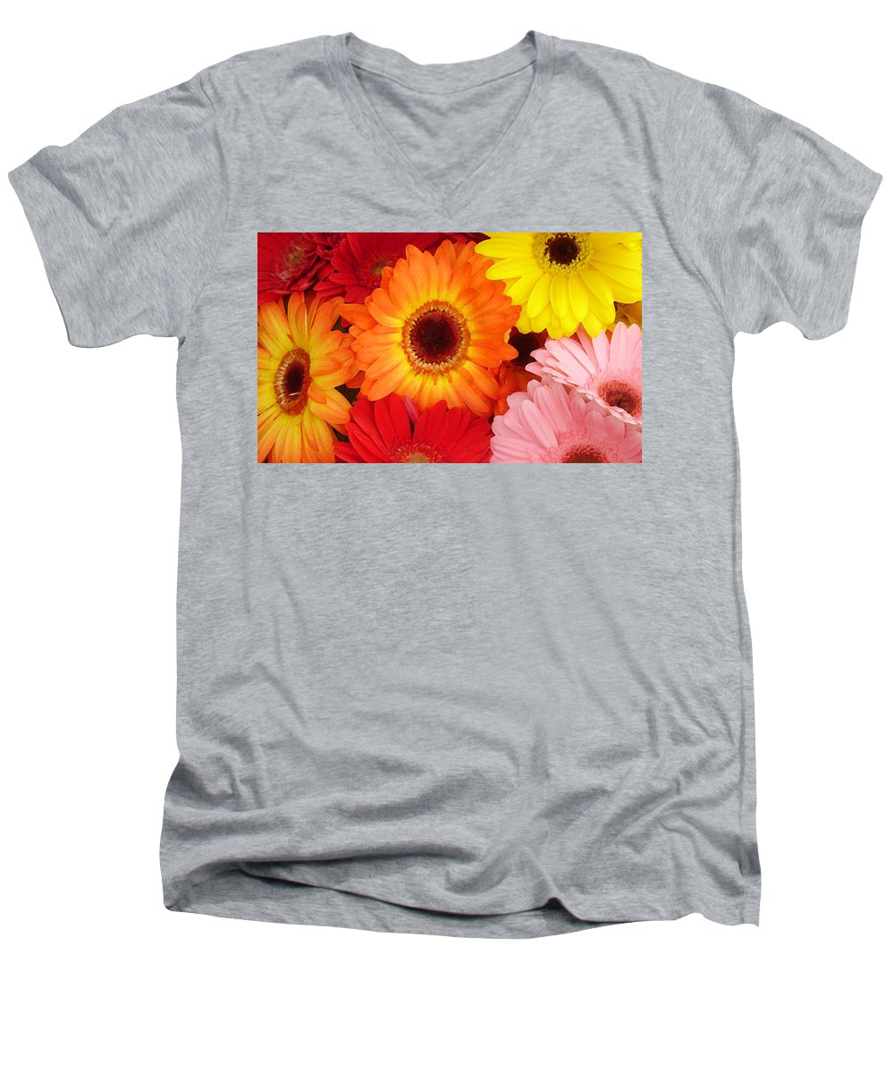 Gerber Daisy Men's V-Neck T-Shirt featuring the painting Colorful Gerber Daisies by Amy Vangsgard