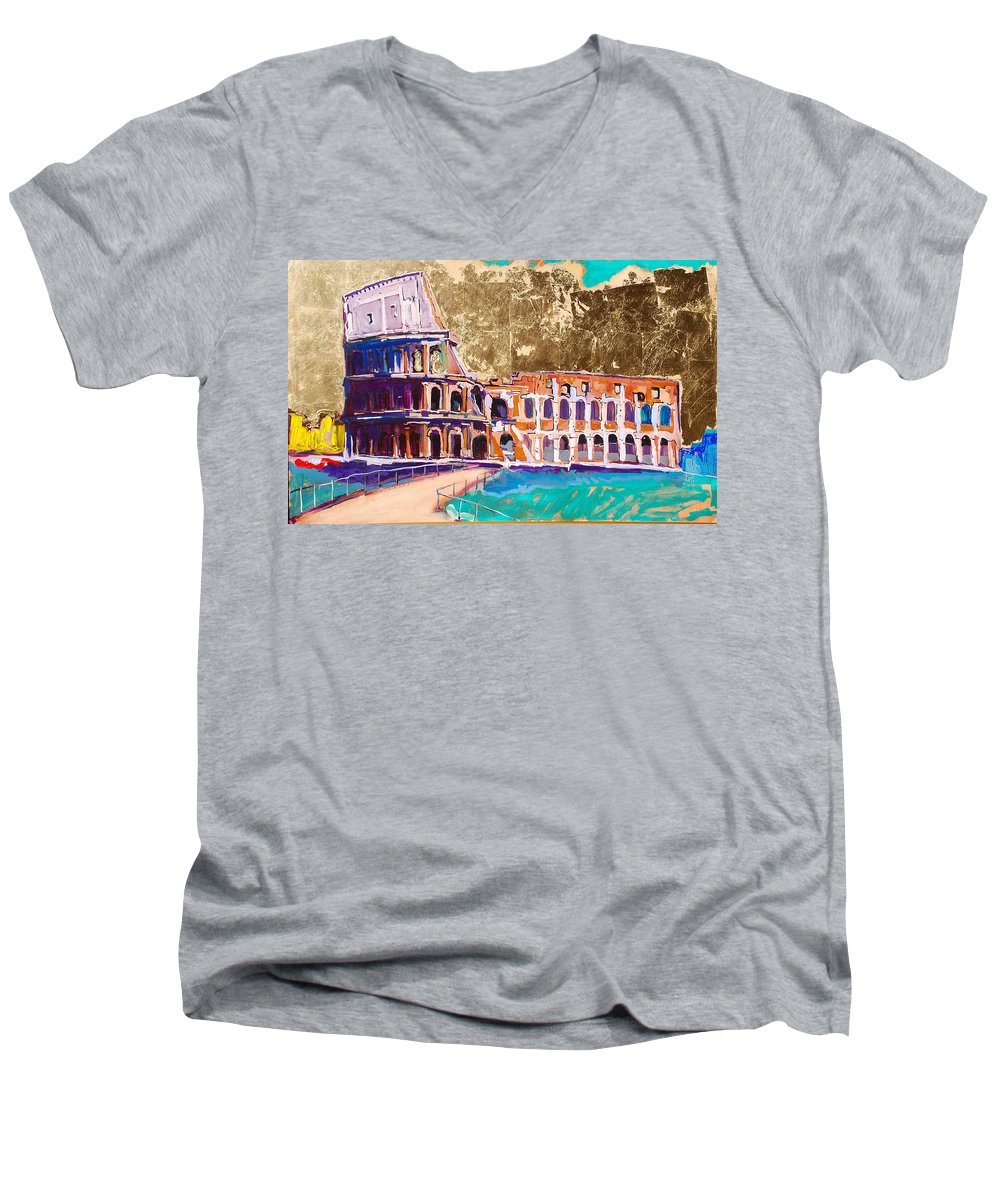 Rome Men's V-Neck T-Shirt featuring the painting Colosseum by Kurt Hausmann