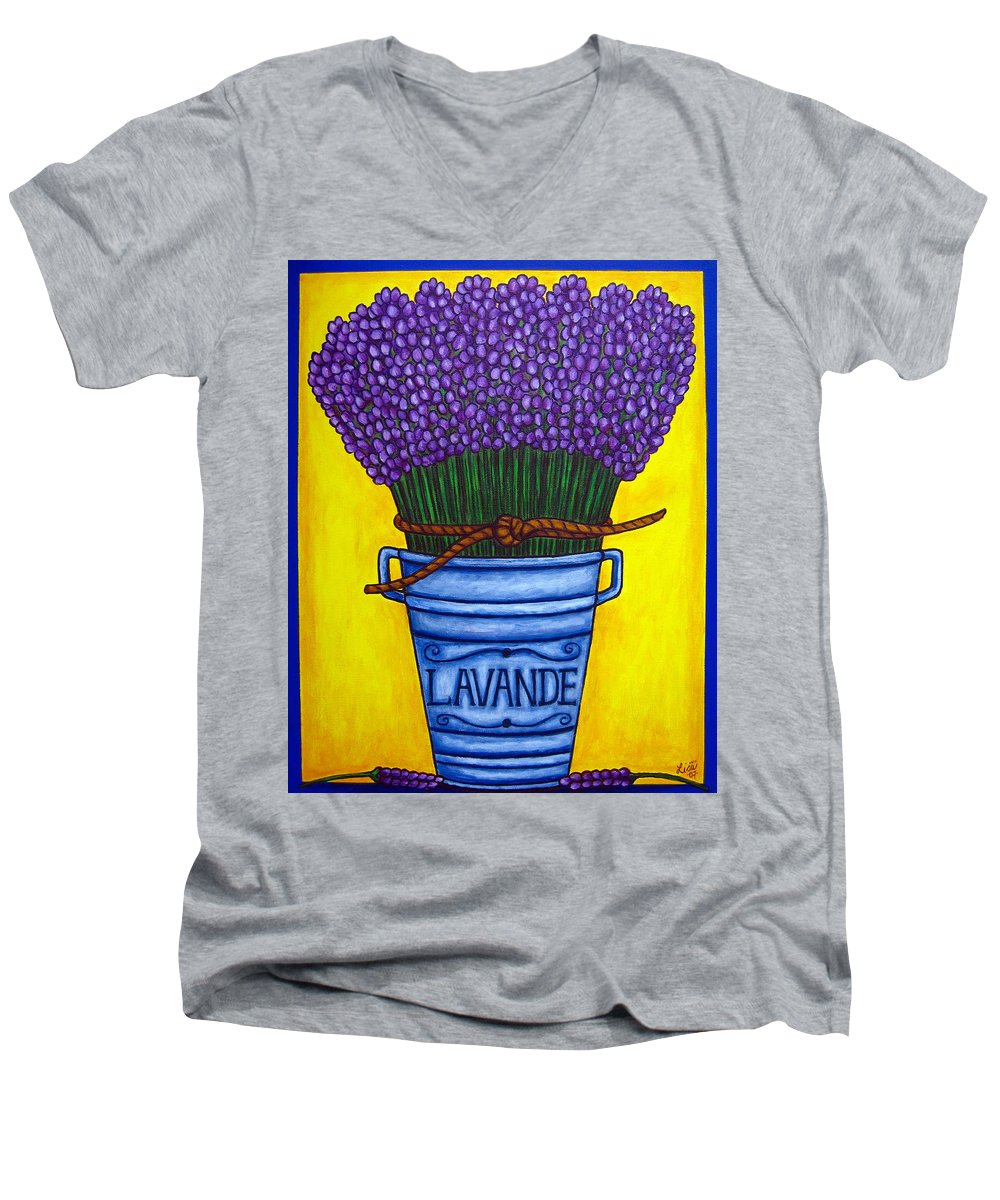 Antique Men's V-Neck T-Shirt featuring the painting Colours Of Provence by Lisa Lorenz