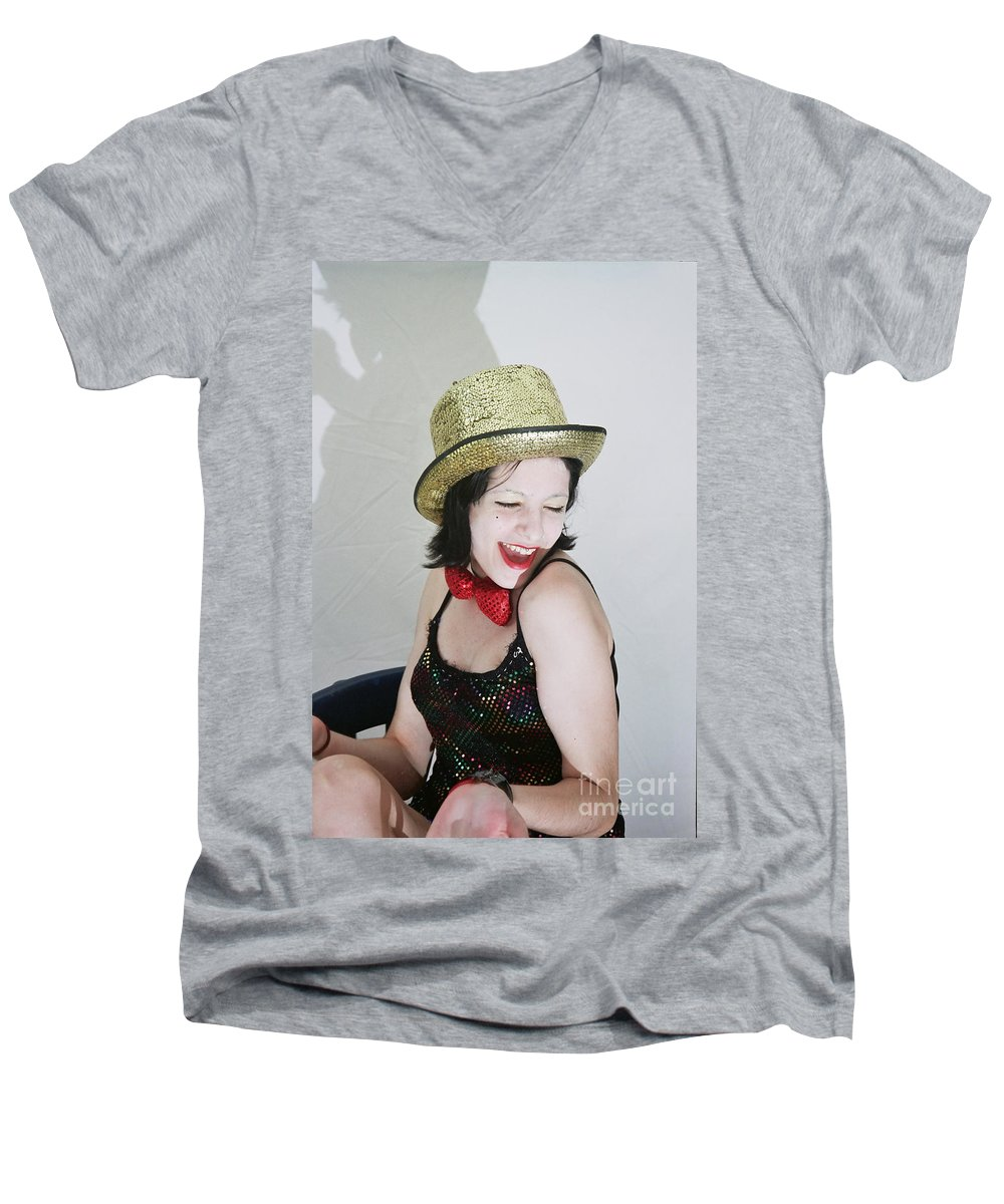 Columbia Men's V-Neck T-Shirt featuring the photograph Columbia During A Rhps Performance by Ilan Rosen