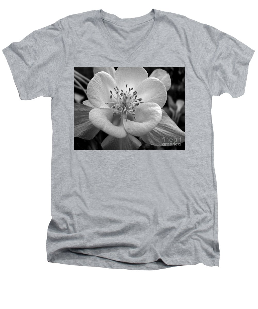 Flowers Men's V-Neck T-Shirt featuring the photograph Columbine by Amanda Barcon