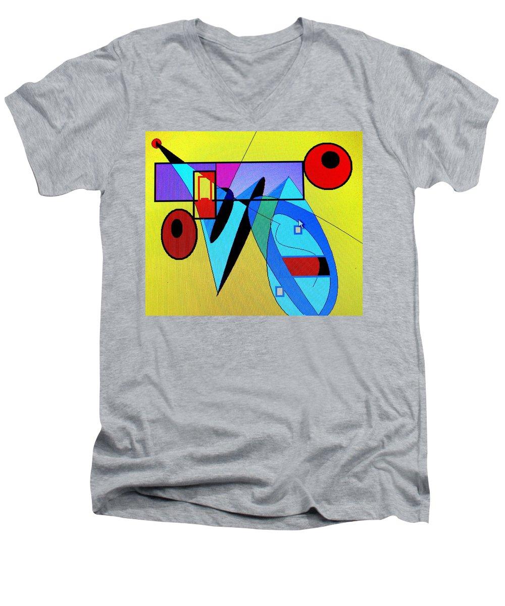 Horn Men's V-Neck T-Shirt featuring the digital art Come Blow Your Horn by Ian MacDonald