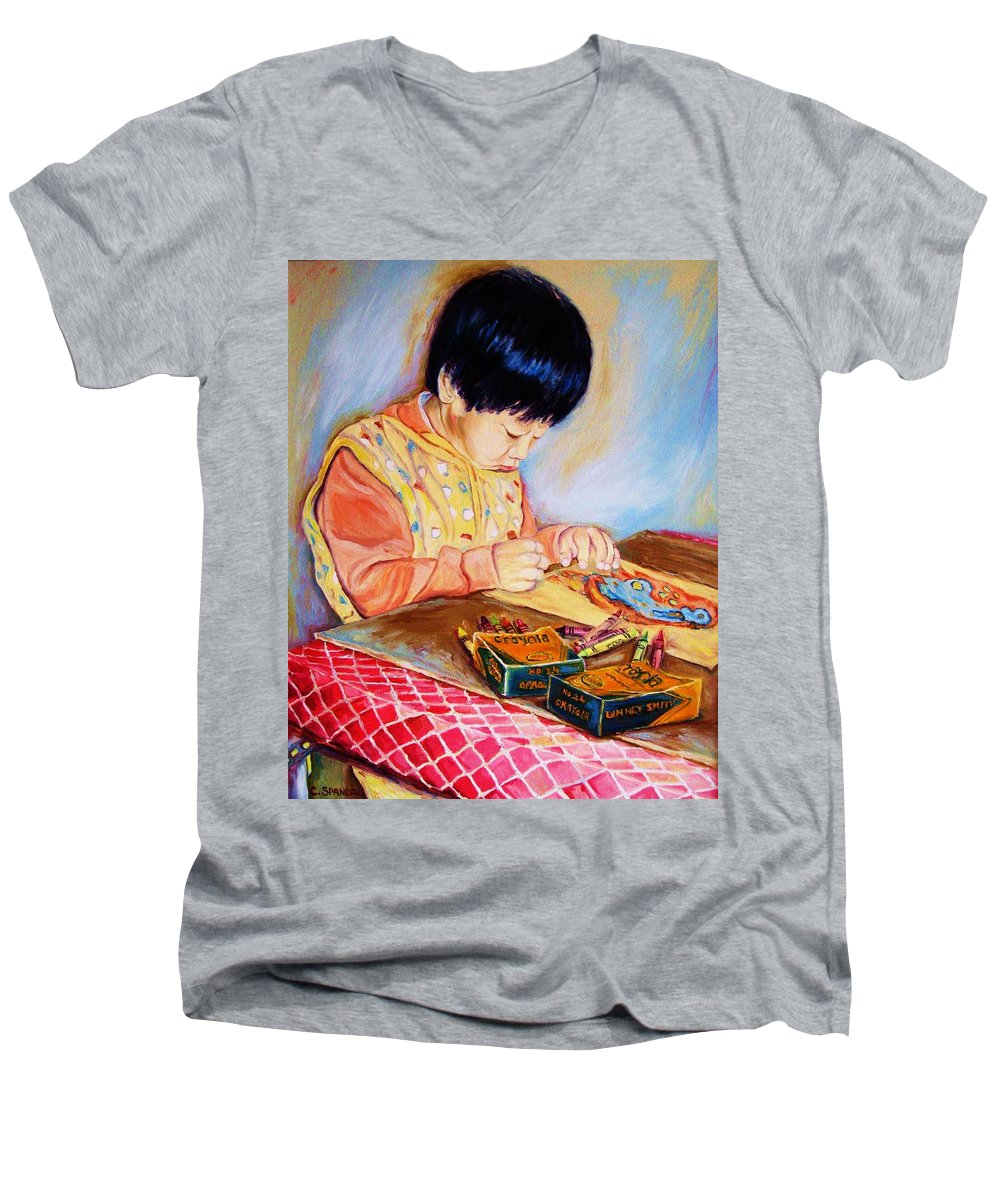 Beautiful Child Men's V-Neck T-Shirt featuring the painting Commission Portraits Your Child by Carole Spandau