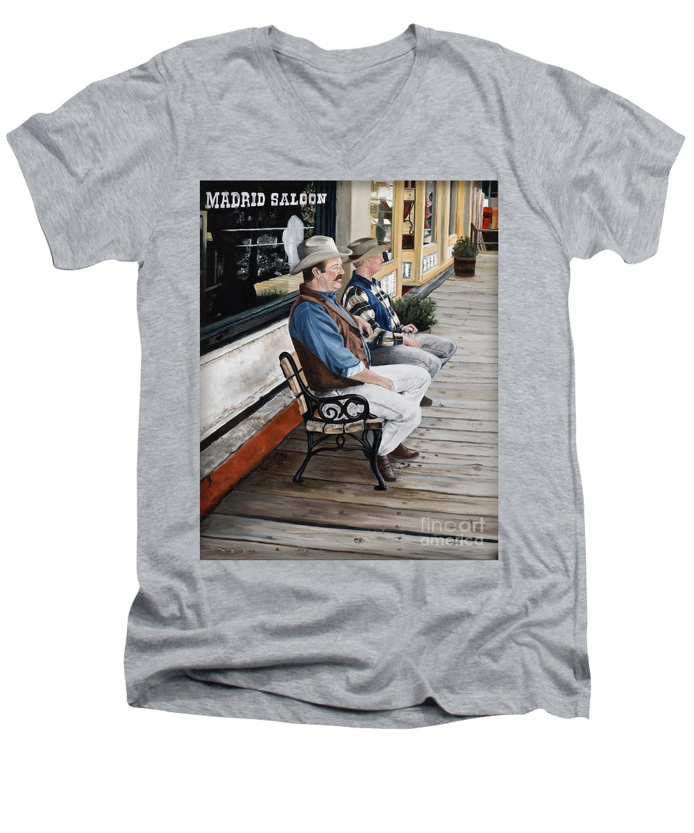 Friends Men's V-Neck T-Shirt featuring the painting Compadres by Mary Rogers