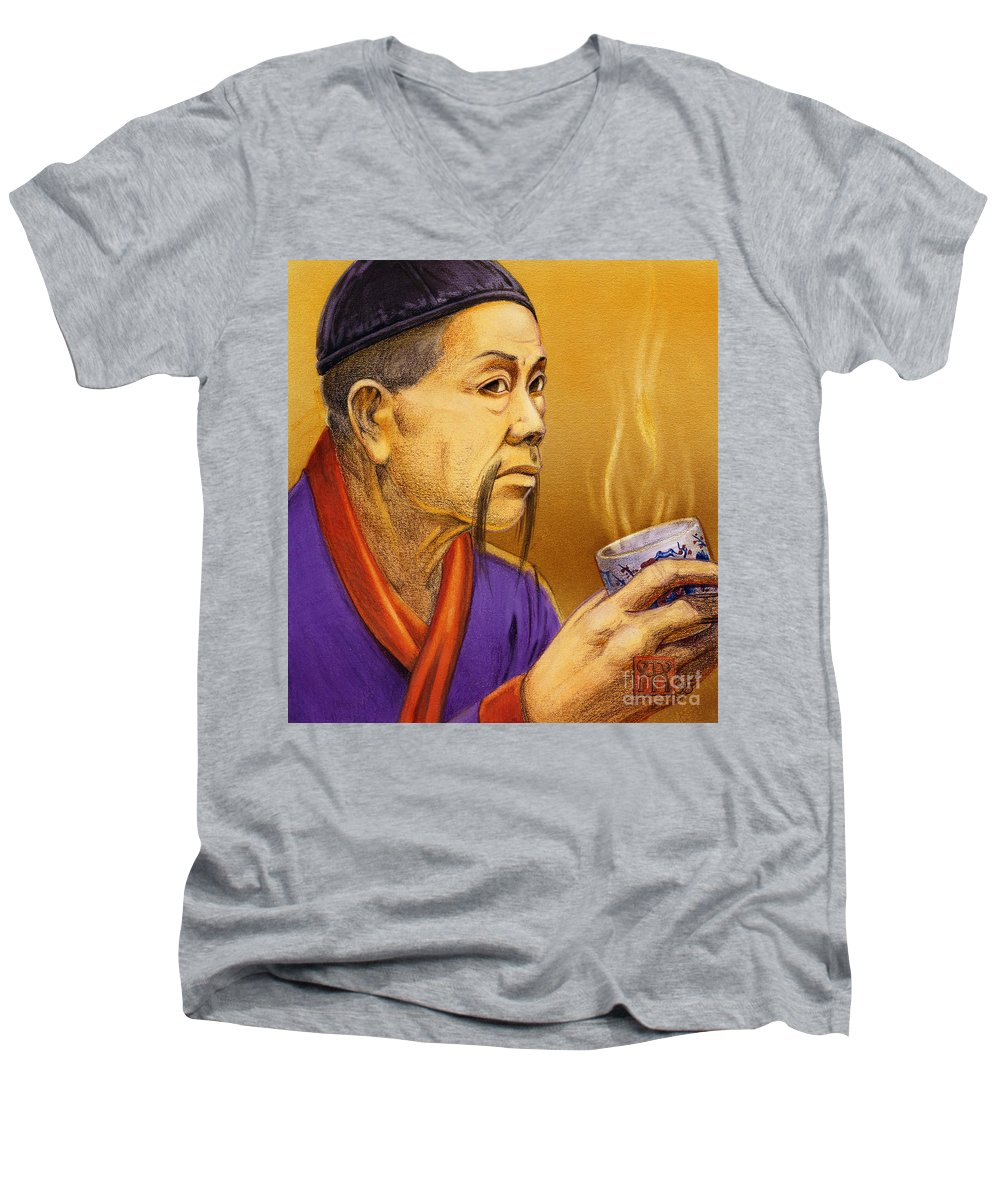 Oriental Men's V-Neck T-Shirt featuring the painting Confucian Sage by Melissa A Benson
