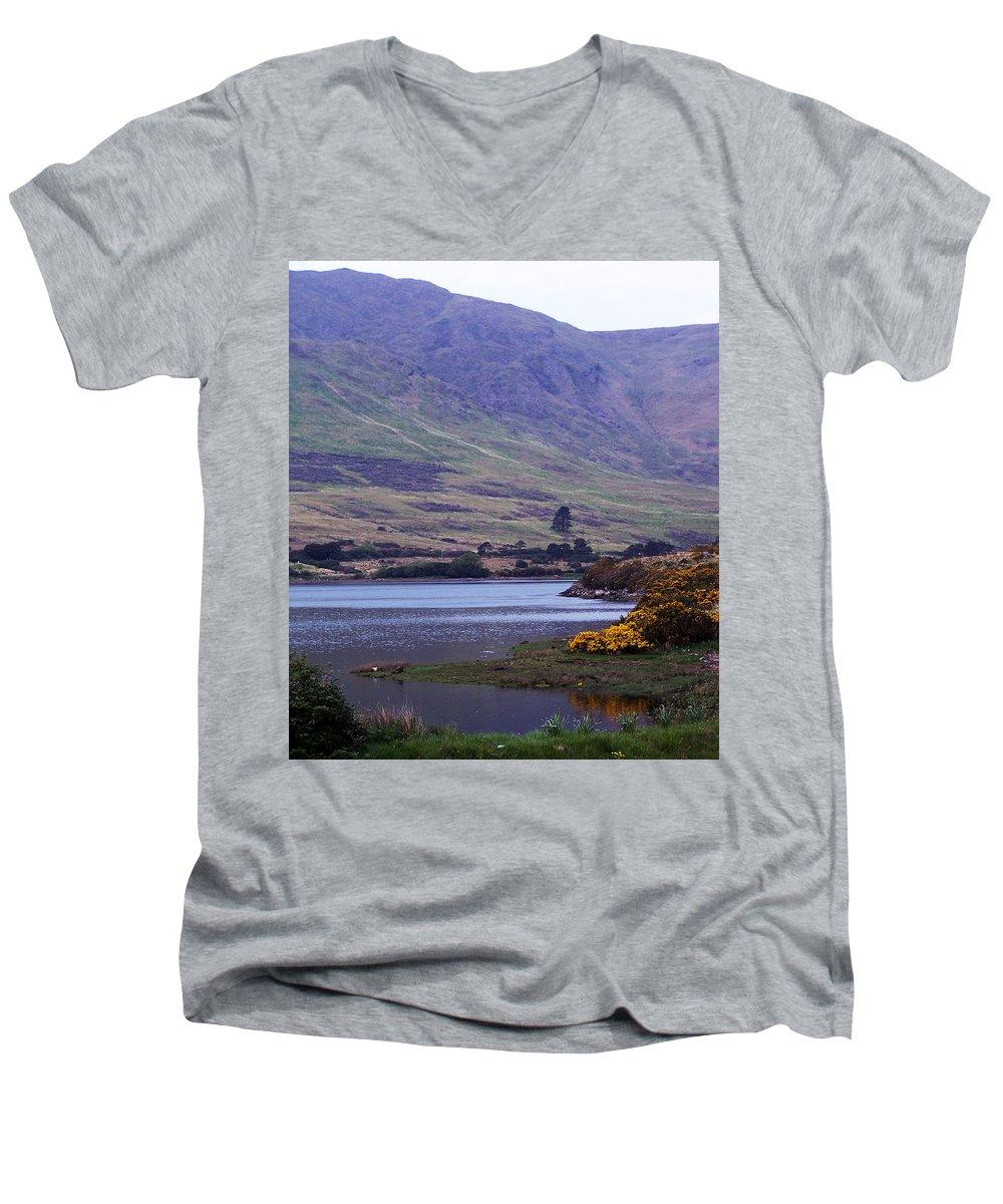Landscape Men's V-Neck T-Shirt featuring the photograph Connemara Leenane Ireland by Teresa Mucha