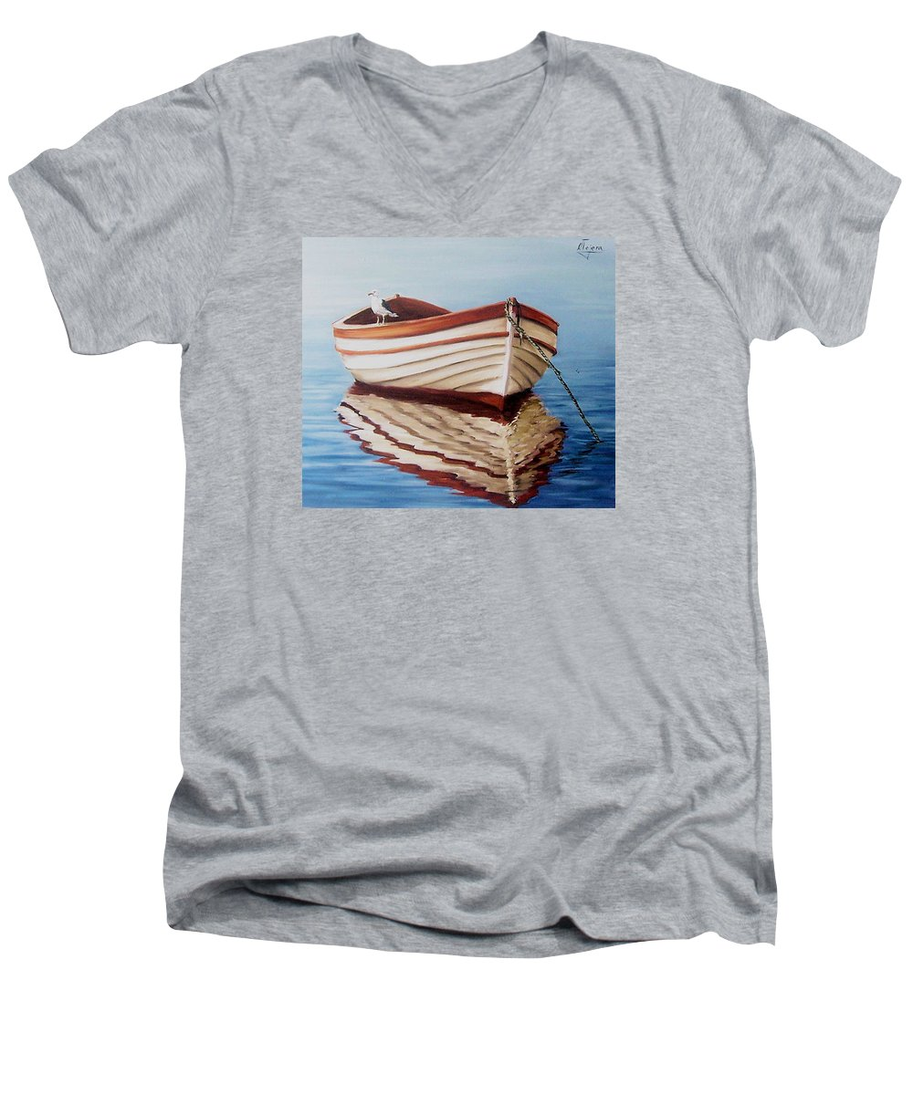 Sea Seascape Boat Reflections Water Ocean Seagull Bird Men's V-Neck T-Shirt featuring the painting Contemplative by Natalia Tejera