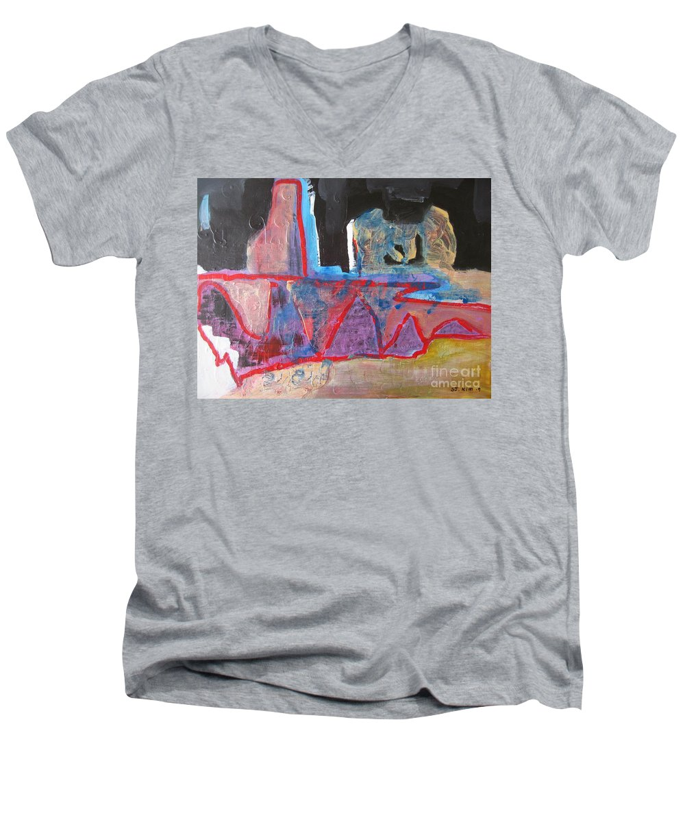 Abstract Paintings Men's V-Neck T-Shirt featuring the painting Contradiction Of Time by Seon-Jeong Kim