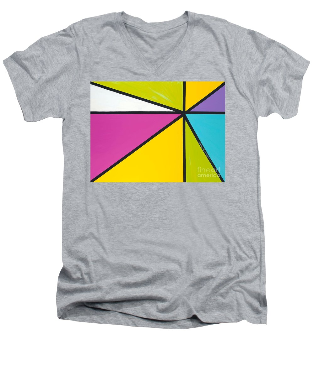 Lines Men's V-Neck T-Shirt featuring the painting Convergence by Nadine Rippelmeyer