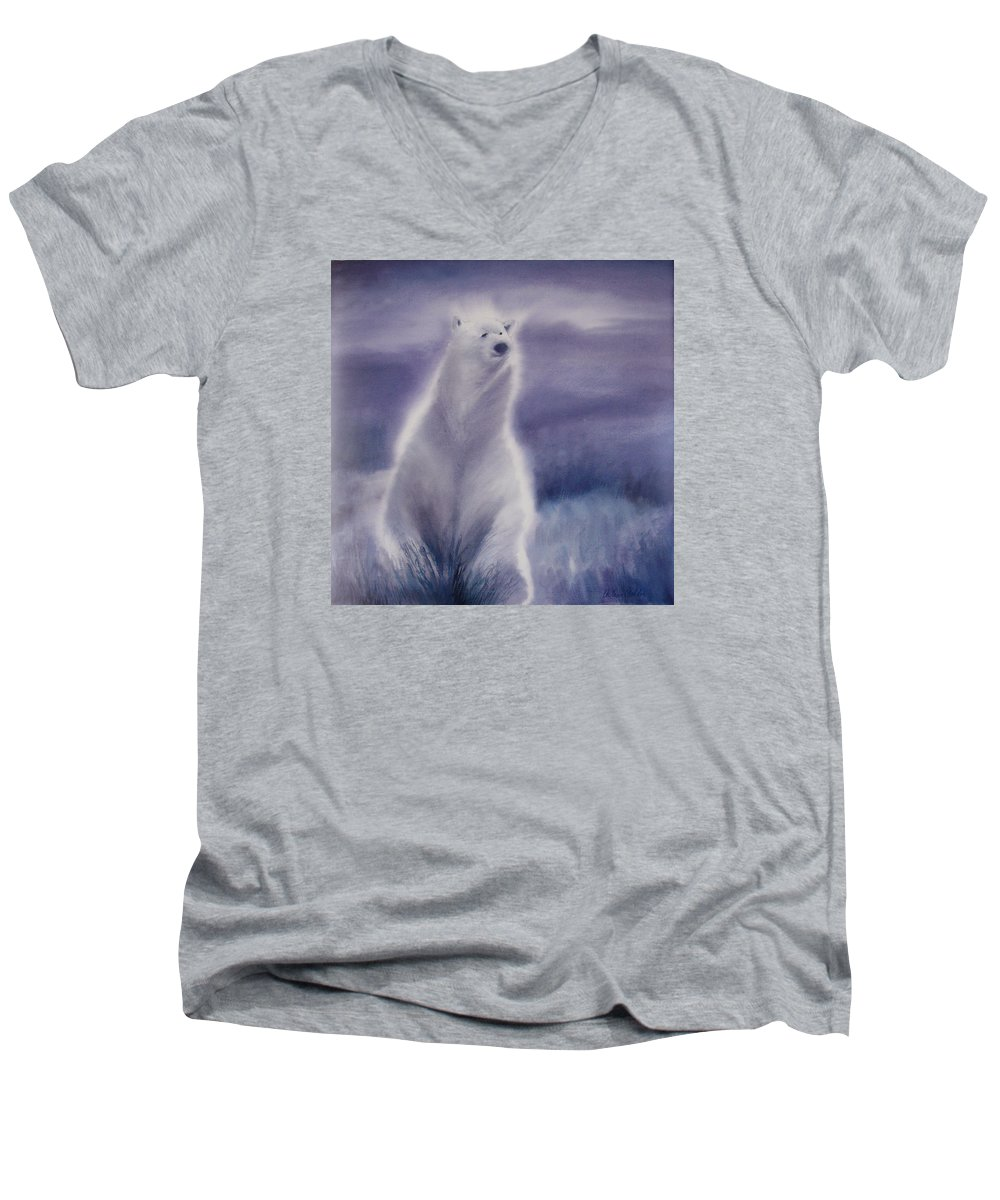 Bear Men's V-Neck T-Shirt featuring the painting Cool Bear by Allison Ashton