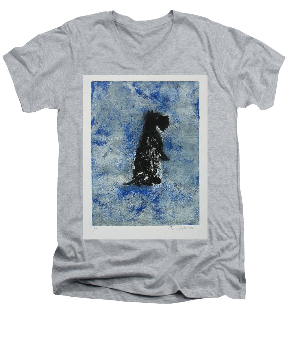 Monotype Men's V-Neck T-Shirt featuring the mixed media Cool Blue by Cori Solomon