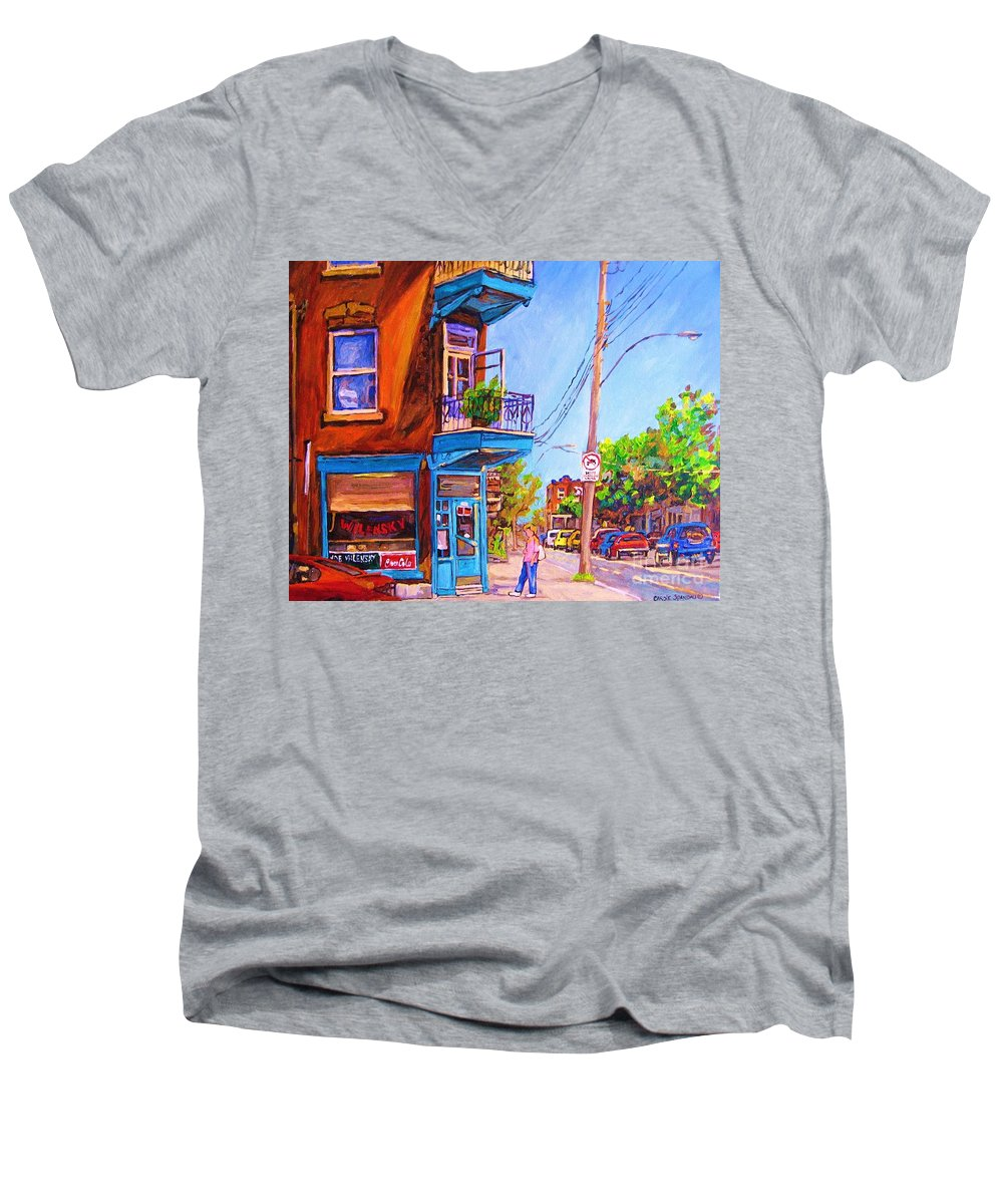 Wilenskys Corner Fairmount And Clark Men's V-Neck T-Shirt featuring the painting Corner Deli Lunch Counter by Carole Spandau